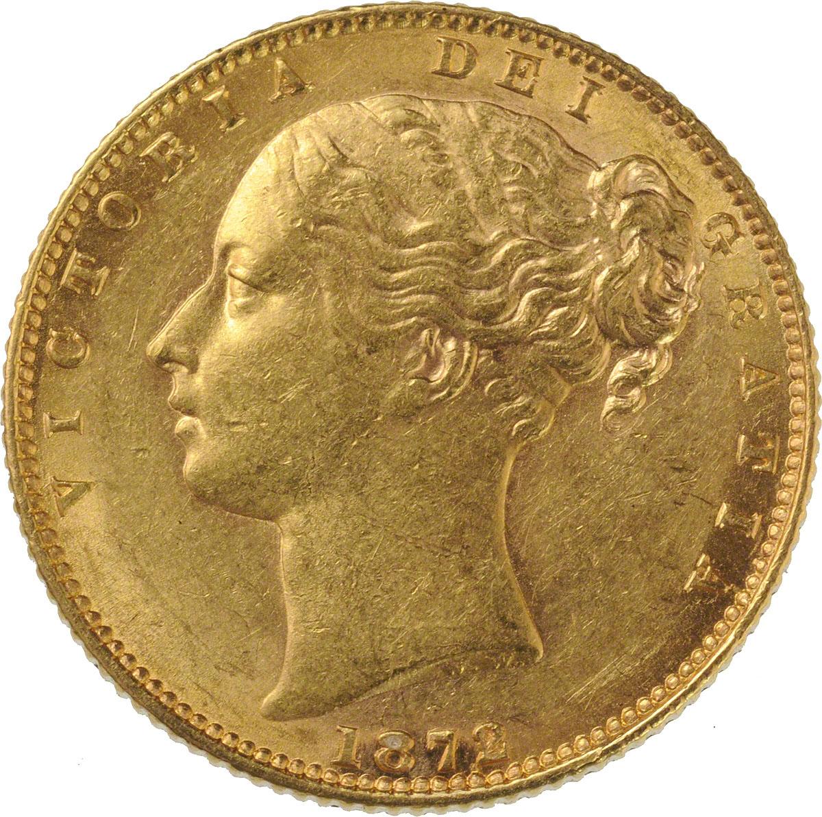 1872 Βικτώρια – Θυρεός (Νομισματοκοπείο Λονδίνου)