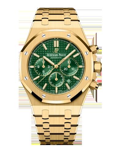 Audemars Piguet 26331BA.OO .1220BA.02 Royal Oak Chronograph 41 Yellow Gold Green Bracelet
