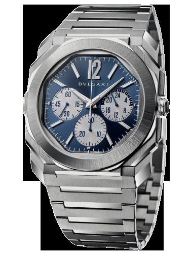 Bulgari 103467 Octo Finissimo S Chronograph GMT Stainless Steel Blue Bracelet 1