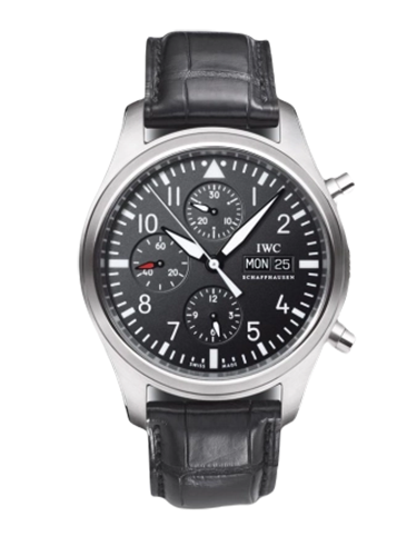 IWC IW3717 01 Pilots Watch Chronograph Stainless Steel Black Strap