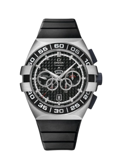 Omega 121.32.44.52.01.001 Constellation Co Axial 44 Chronograph Double Eagle Four Counters Stainless Steel Black Rubber