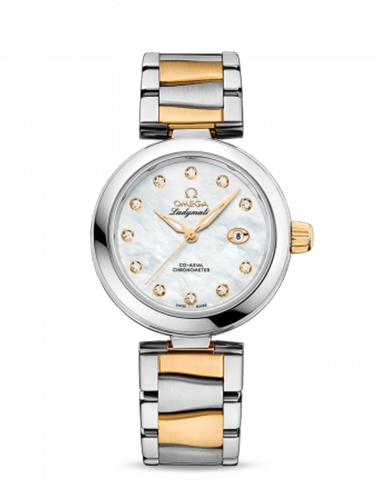 Omega 425.20.34.20.55.003 LadyMatic Co Axial 34 Stainless Steel Yellow Gold MOP Bracelet
