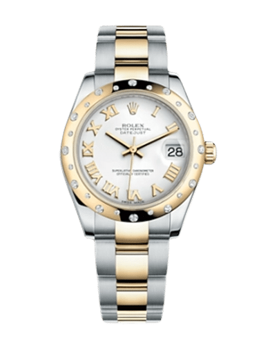 Rolex 178343 0004 98 Datejust 31 Rolesor Yellow Domed Diamond Oyster White Roman