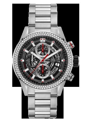 TAG Heuer CAR201P.BA0766 Carrerra Calibre Heuer 01 43 Stainless Steel Diamond Skeleton Bracelet 1